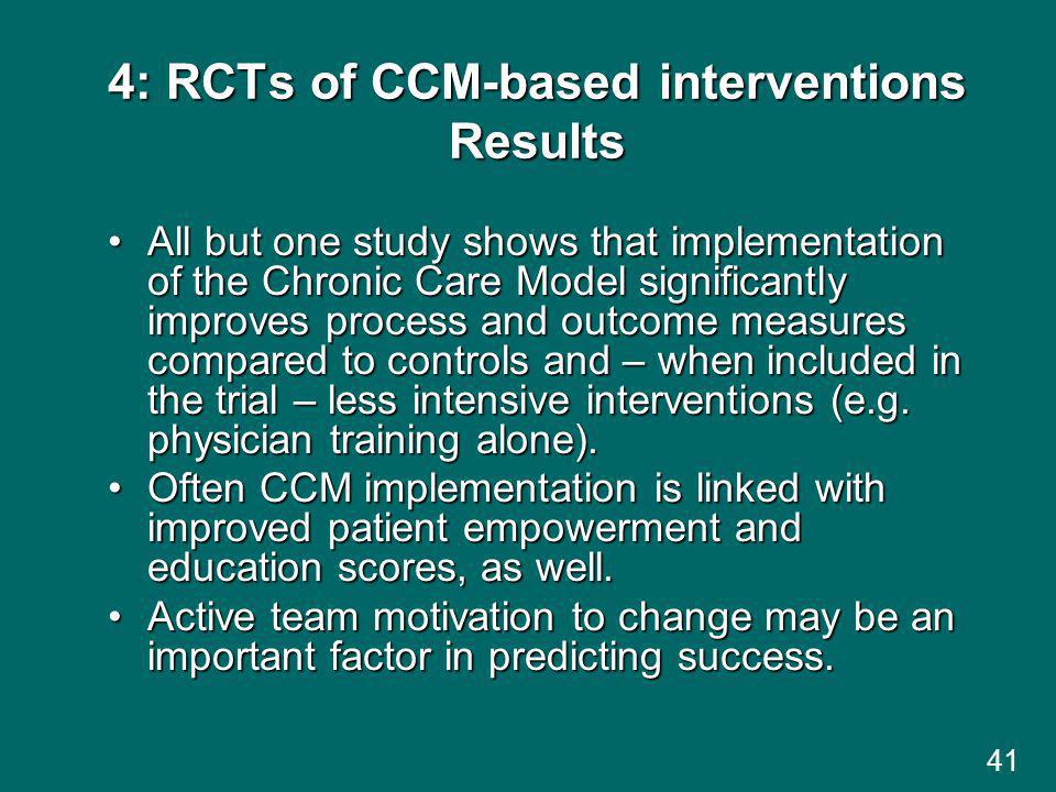 4: RCTs of CCM-based interventions Results