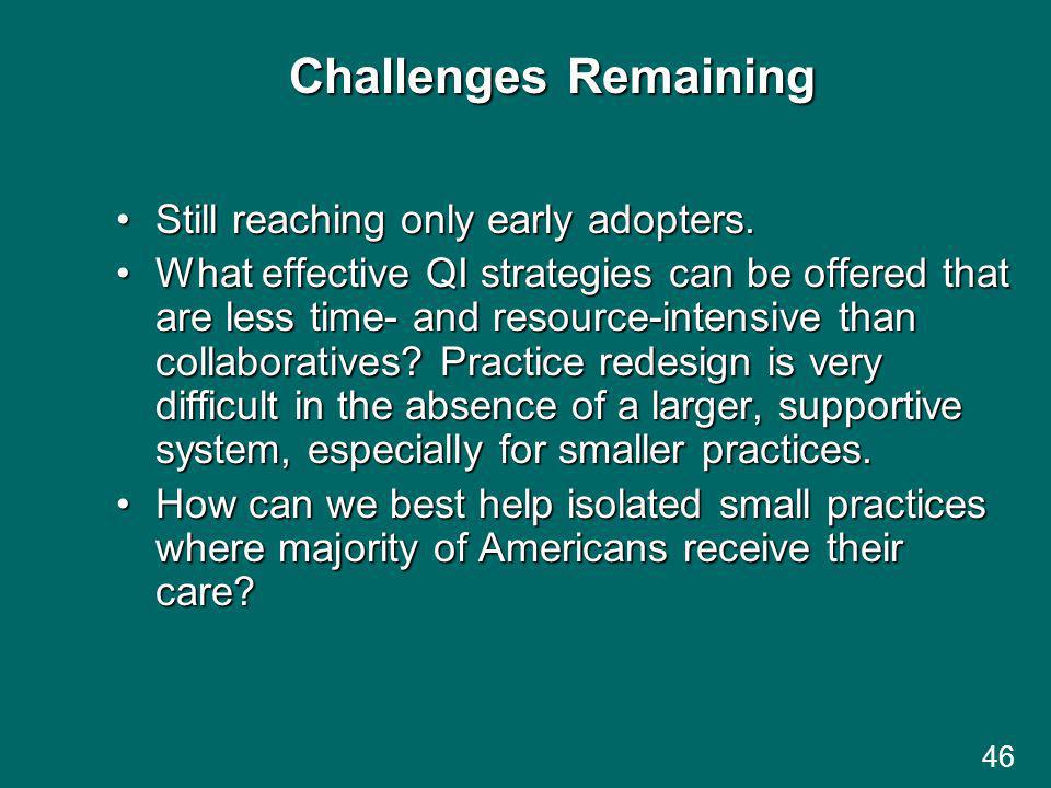 Challenges Remaining Still reaching only early adopters.