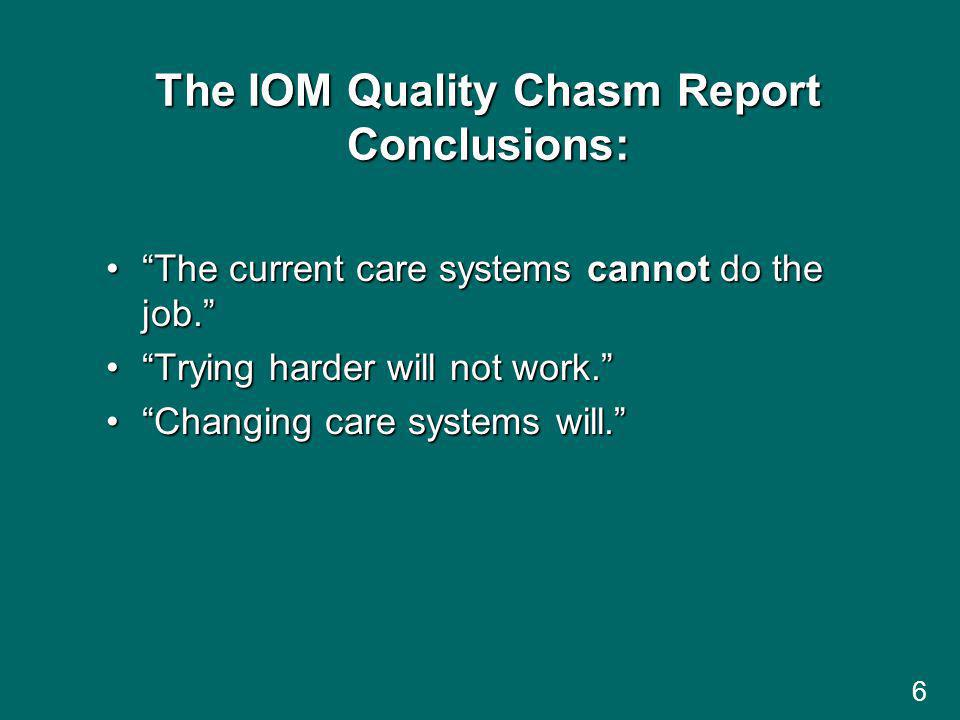 The IOM Quality Chasm Report Conclusions: