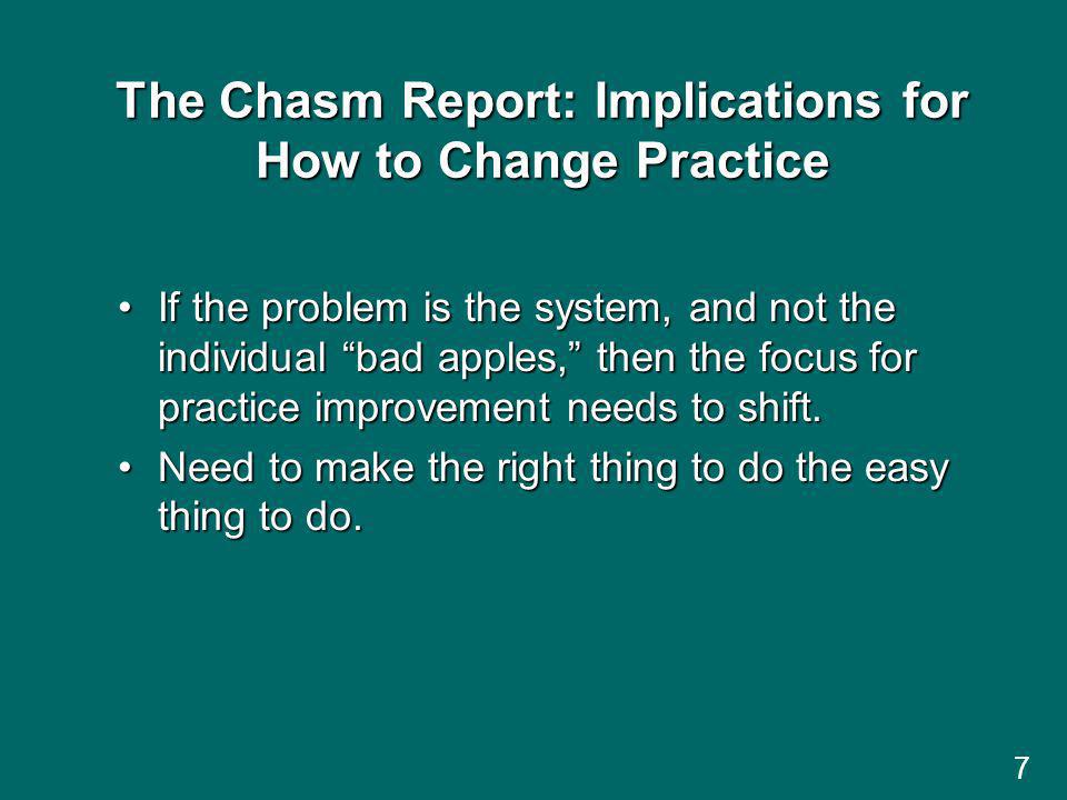 The Chasm Report: Implications for How to Change Practice