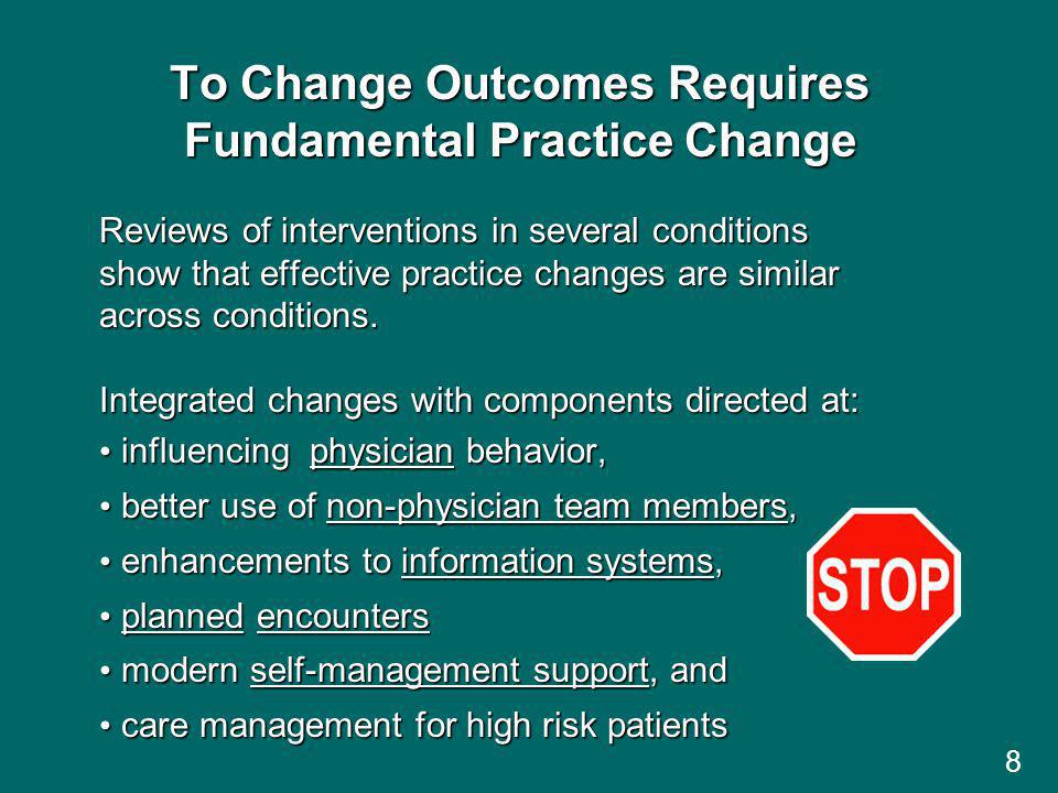 To Change Outcomes Requires Fundamental Practice Change