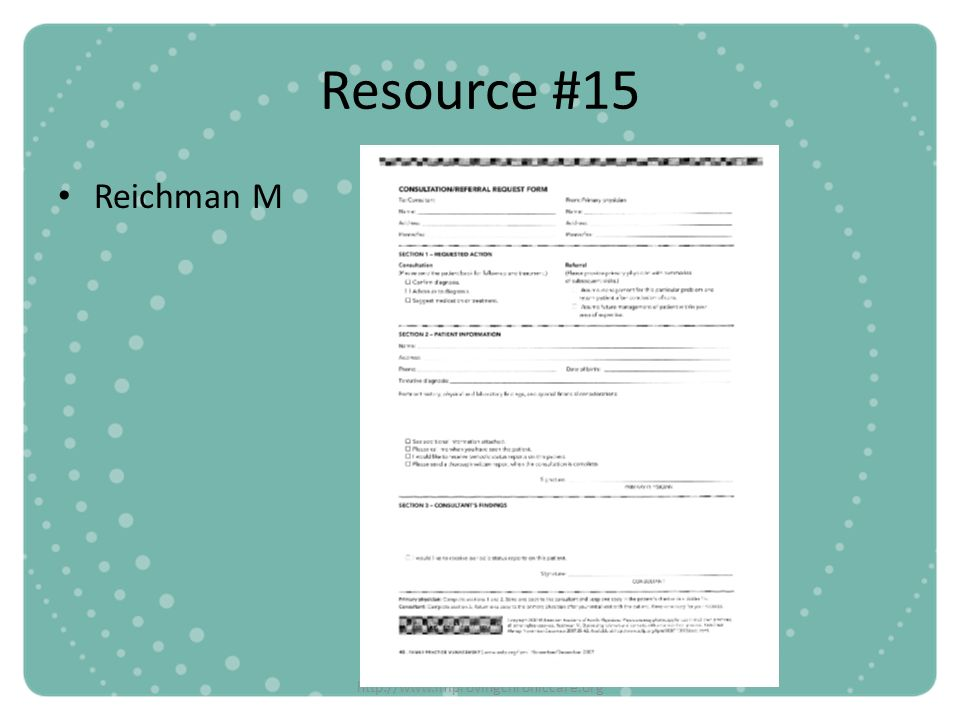 Resource #15 Reichman M http://www.improvingchroniccare.org