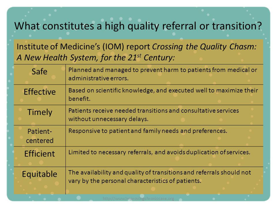 What constitutes a high quality referral or transition