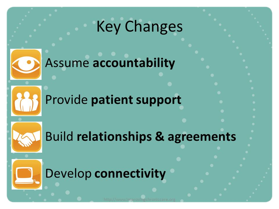 Key Changes Assume accountability Provide patient support