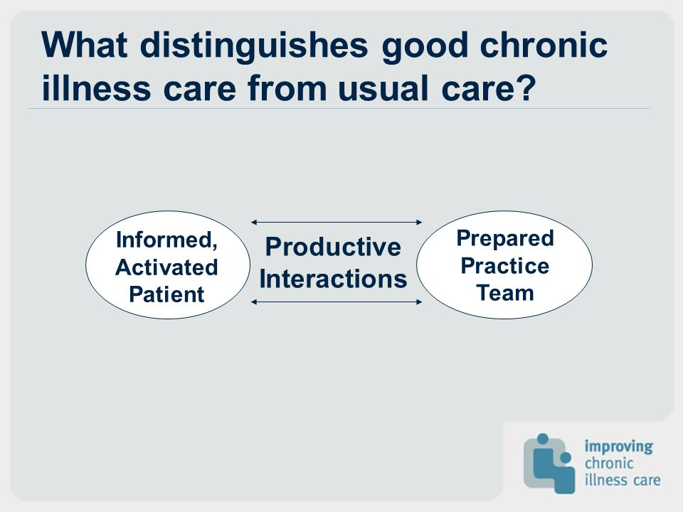 What distinguishes good chronic illness care from usual care