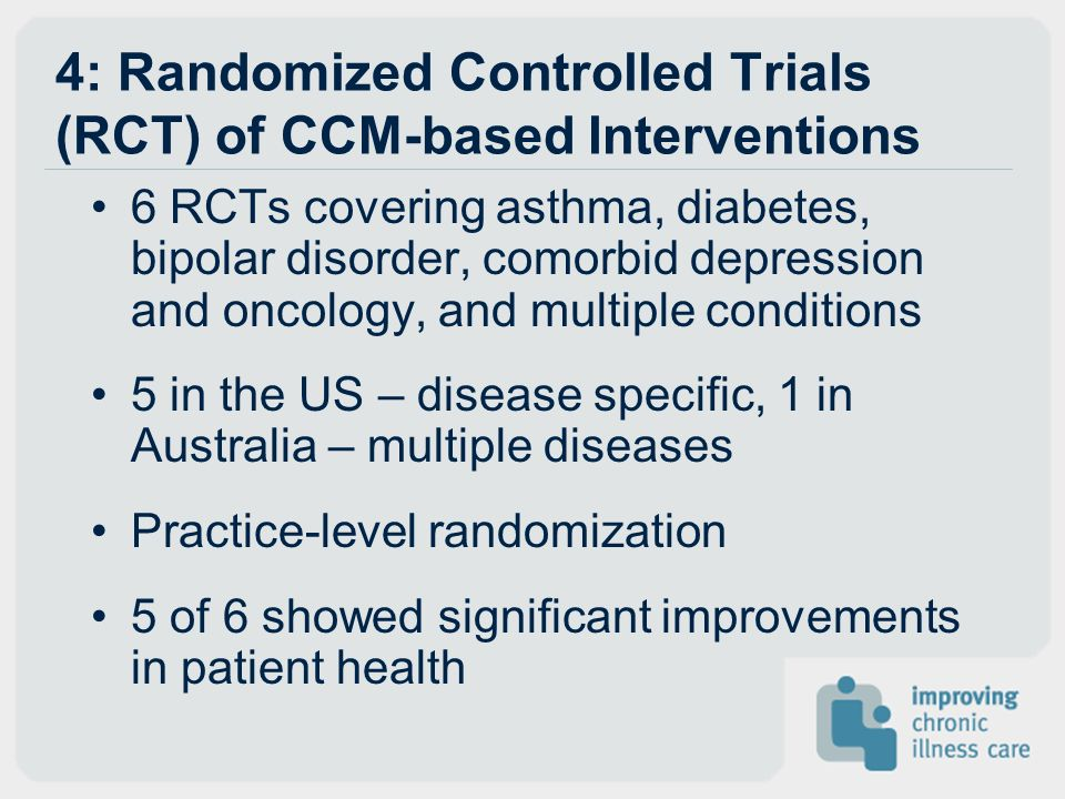 4: Randomized Controlled Trials (RCT) of CCM-based Interventions
