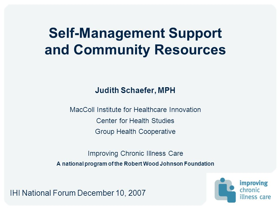 Self-Management Support and Community Resources
