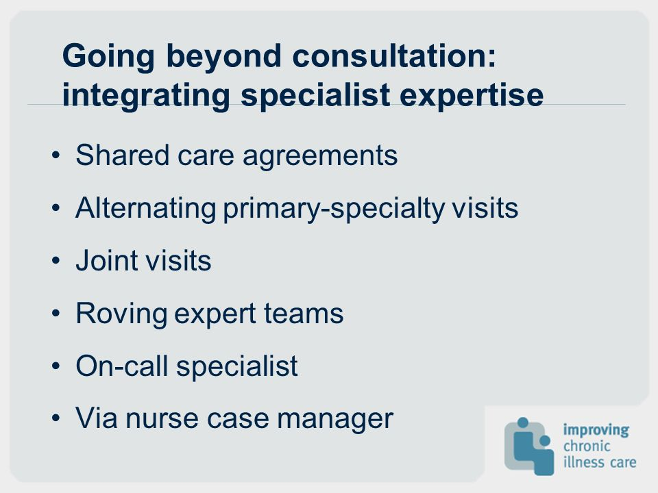 Going beyond consultation: integrating specialist expertise