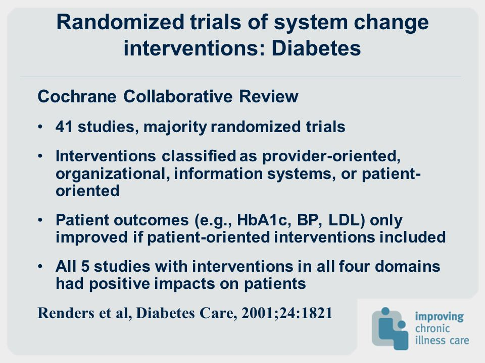 Randomized trials of system change interventions: Diabetes