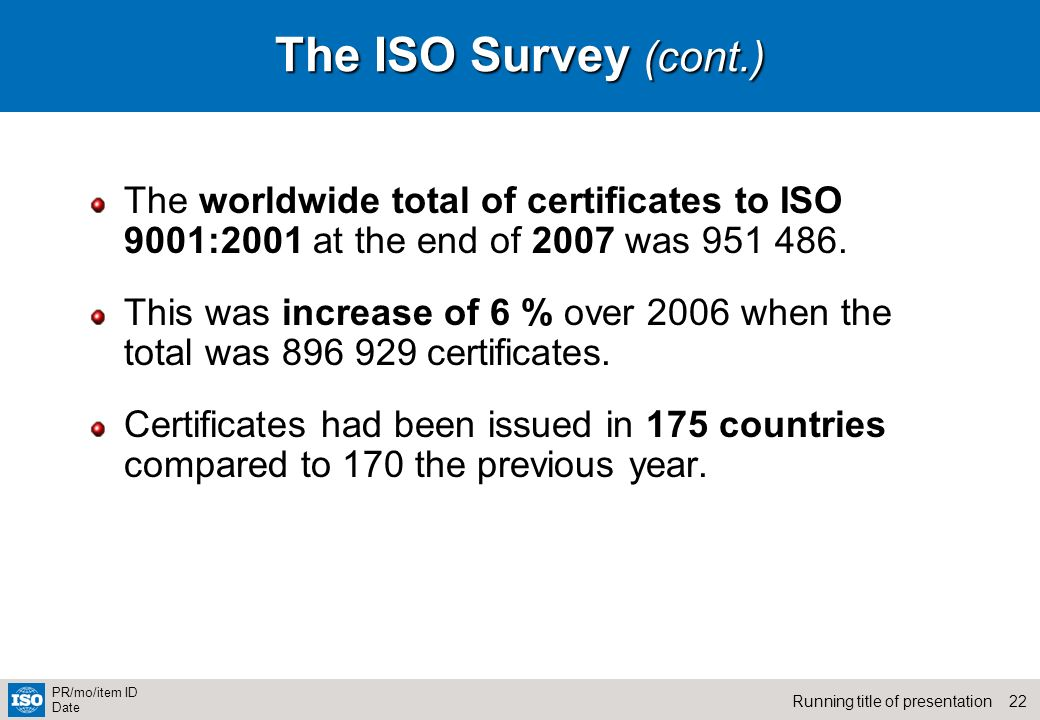 The ISO Survey (cont.) The worldwide total of certificates to ISO 9001:2001 at the end of 2007 was 951 486.