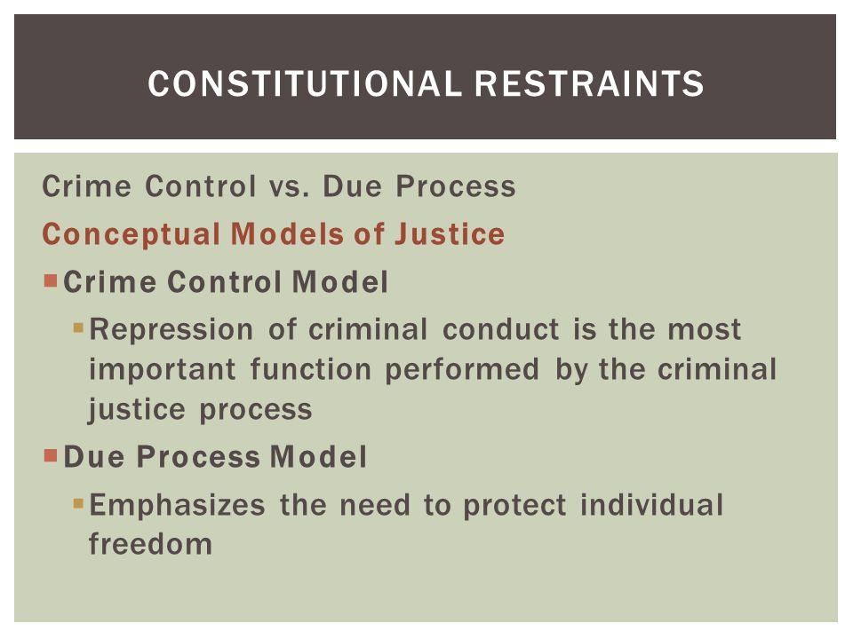 the 3 models of criminal justice There are two basic models of criminal justice the crime control model  suggests that repressing crime should be the top priority of any society's criminal  justice.