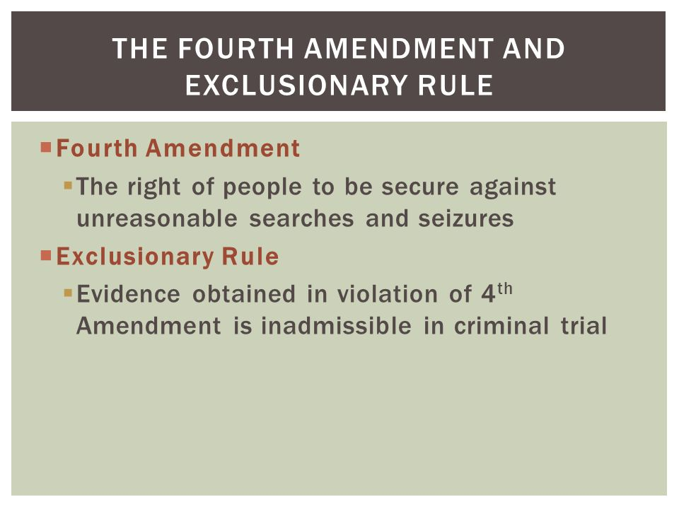 the protection of individuals as stipulated in the fourth amendment The american civil liberties union  amendment, as well as to equal protection of the laws and due  searches and seizures under the fourth amendment,.