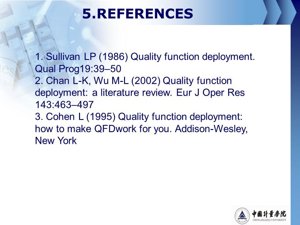 5.REFERENCES 1. Sullivan LP (1986) Quality function deployment. Qual Prog19:39–50.