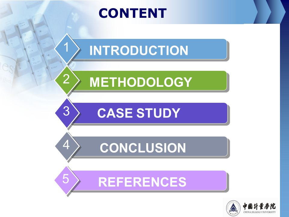CONTENT INTRODUCTION 1 METHODOLOGY 2 CASE STUDY 3 CONCLUSION 4 REFERENCES 5