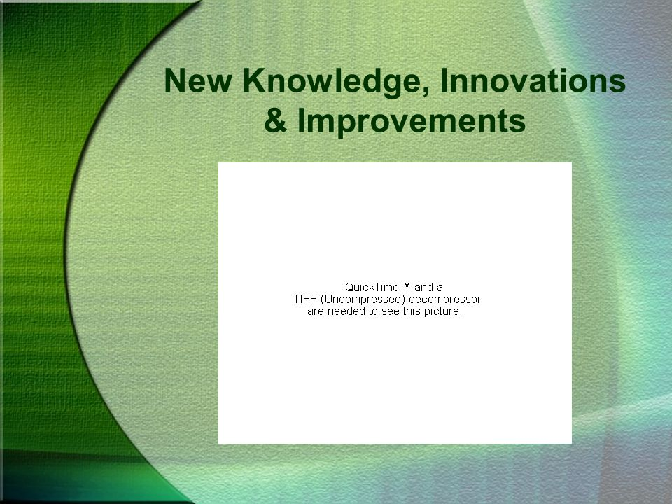 New Knowledge, Innovations & Improvements