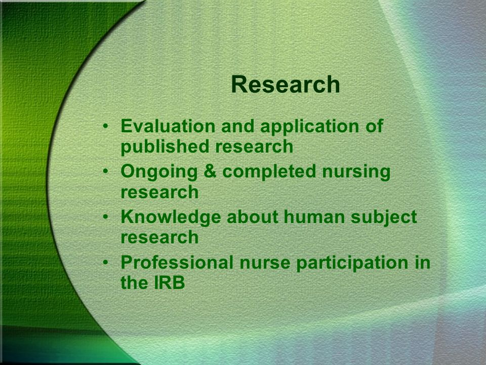 Research Evaluation and application of published research