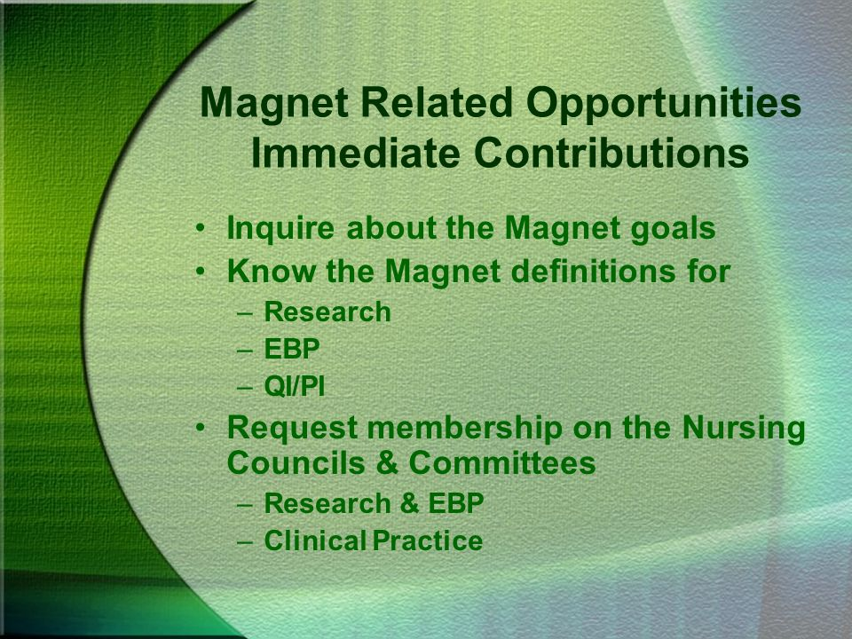 Magnet Related Opportunities Immediate Contributions