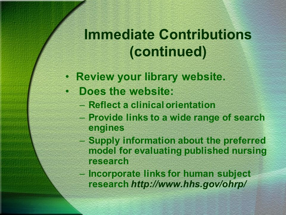 Immediate Contributions (continued)