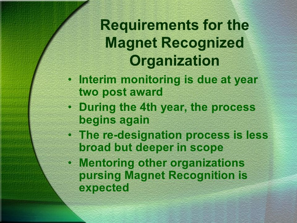Requirements for the Magnet Recognized Organization