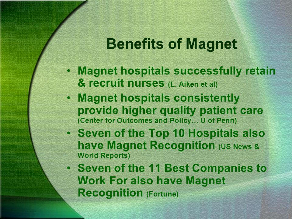 Benefits of Magnet Magnet hospitals successfully retain & recruit nurses (L. Aiken et al)