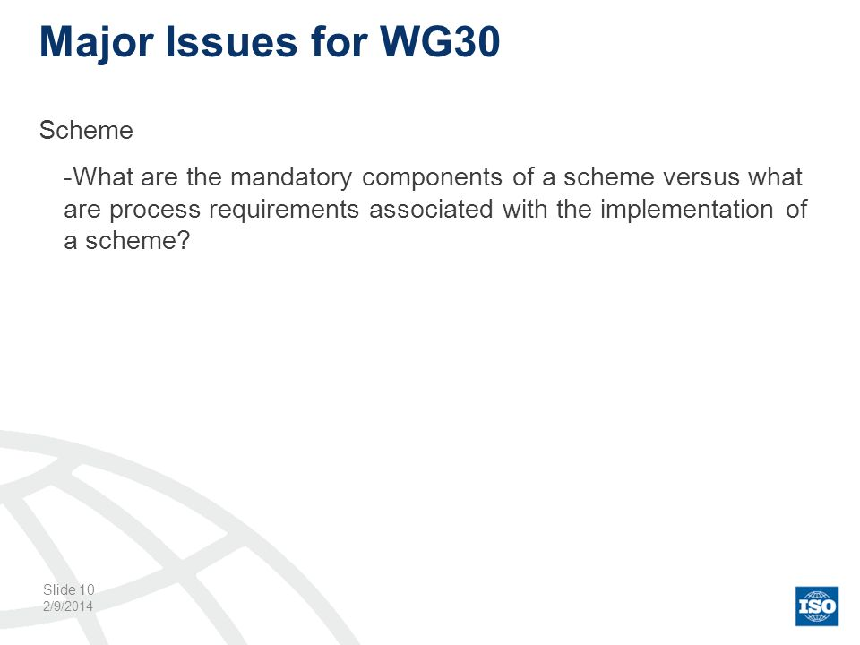 Major Issues for WG30