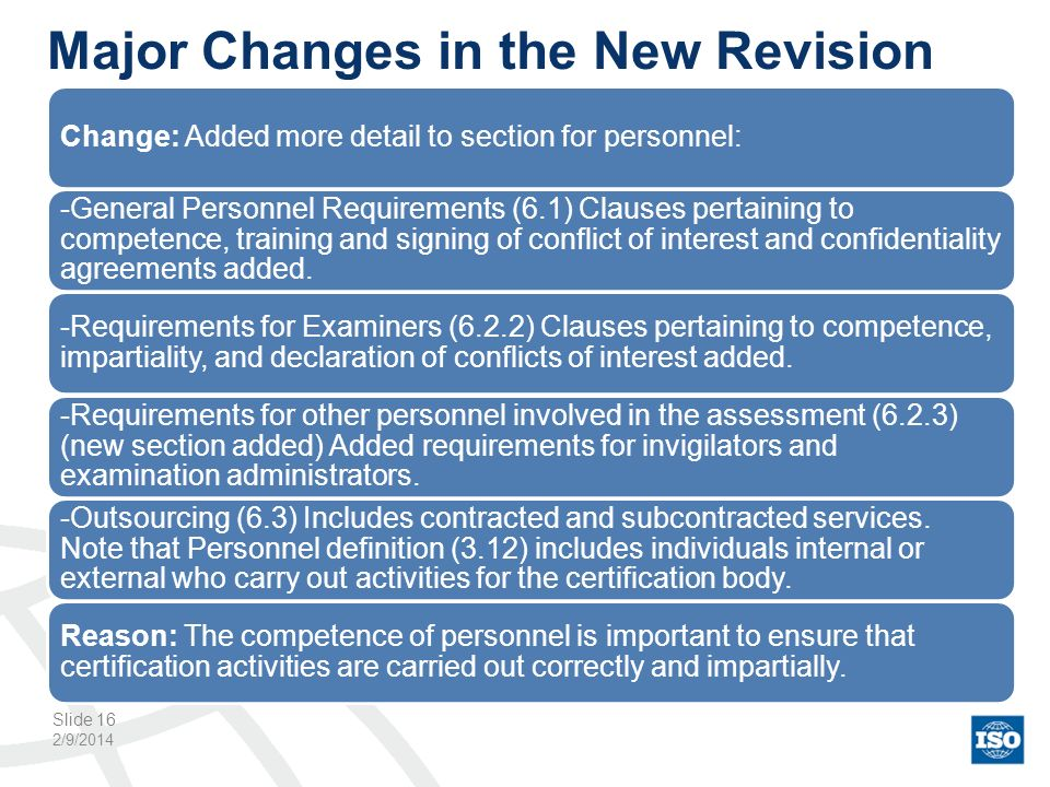 Major Changes in the New Revision