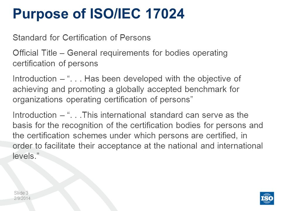 Purpose of ISO/IEC 17024