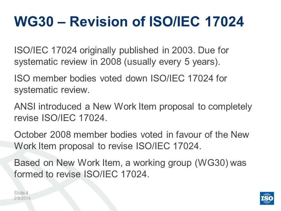 WG30 – Revision of ISO/IEC 17024