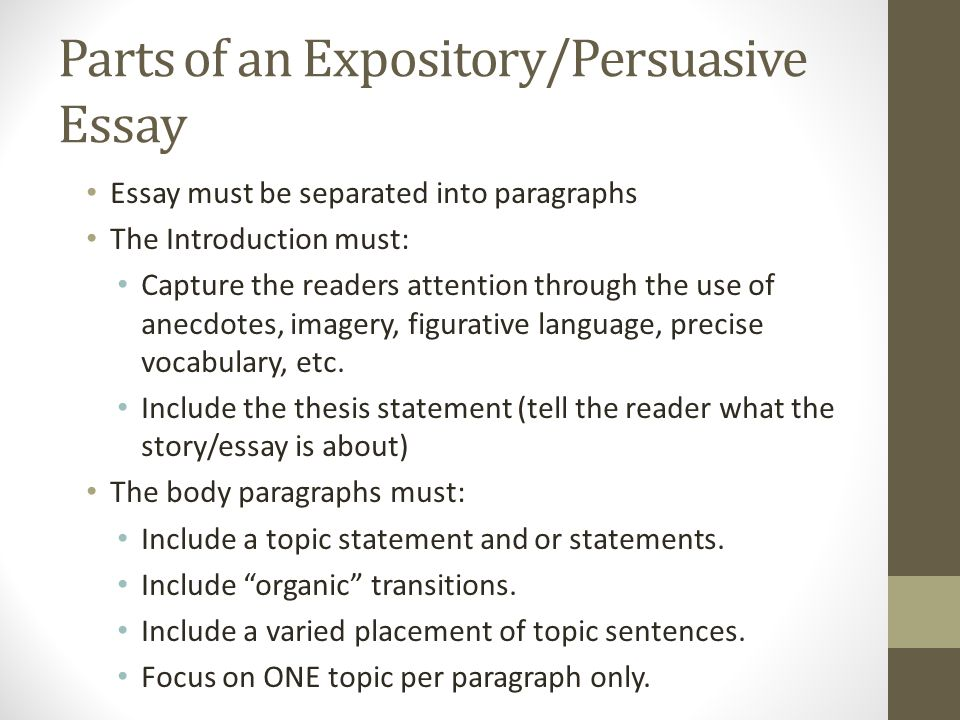 expository and persuasive essay overview of requirements ppt  parts of an expository persuasive essay