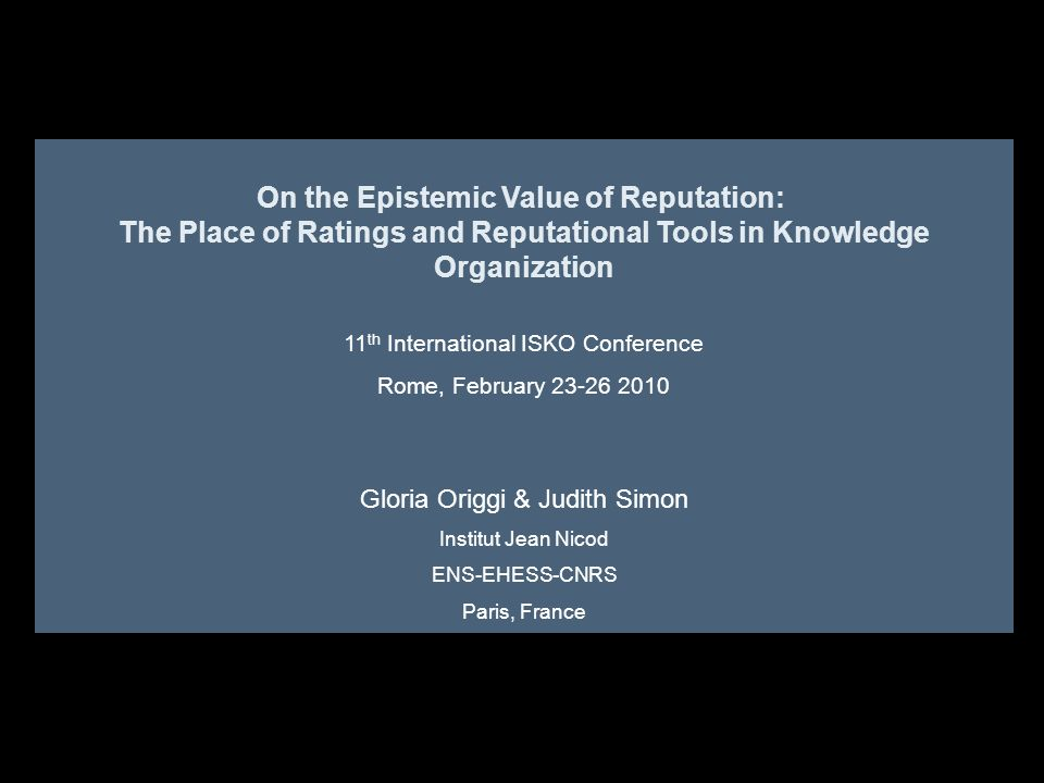 The Place of Ratings and Reputational Tools in Knowledge Organization