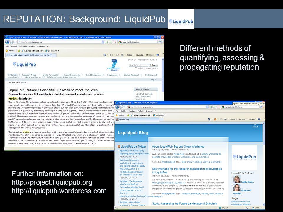 REPUTATION: Background: LiquidPub