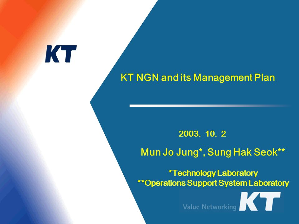 KT NGN and its Management Plan Mun Jo Jung*, Sung Hak Seok**