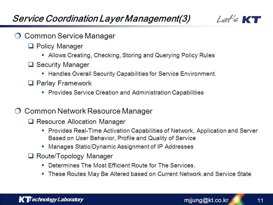 Service Coordination Layer Management(3)