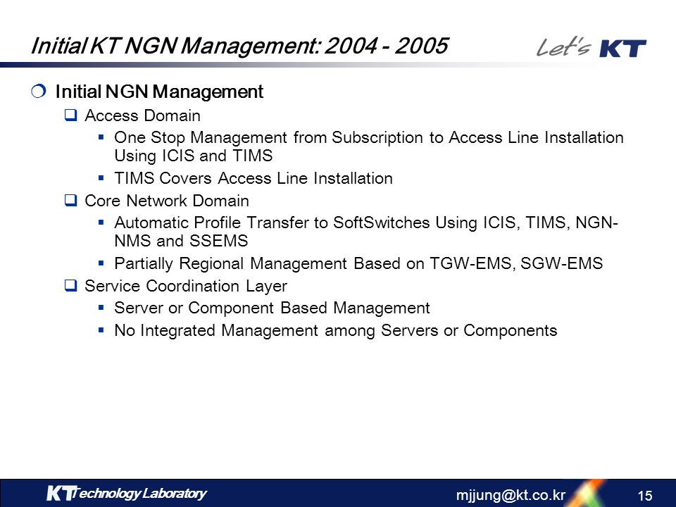 Initial KT NGN Management: 2004 - 2005