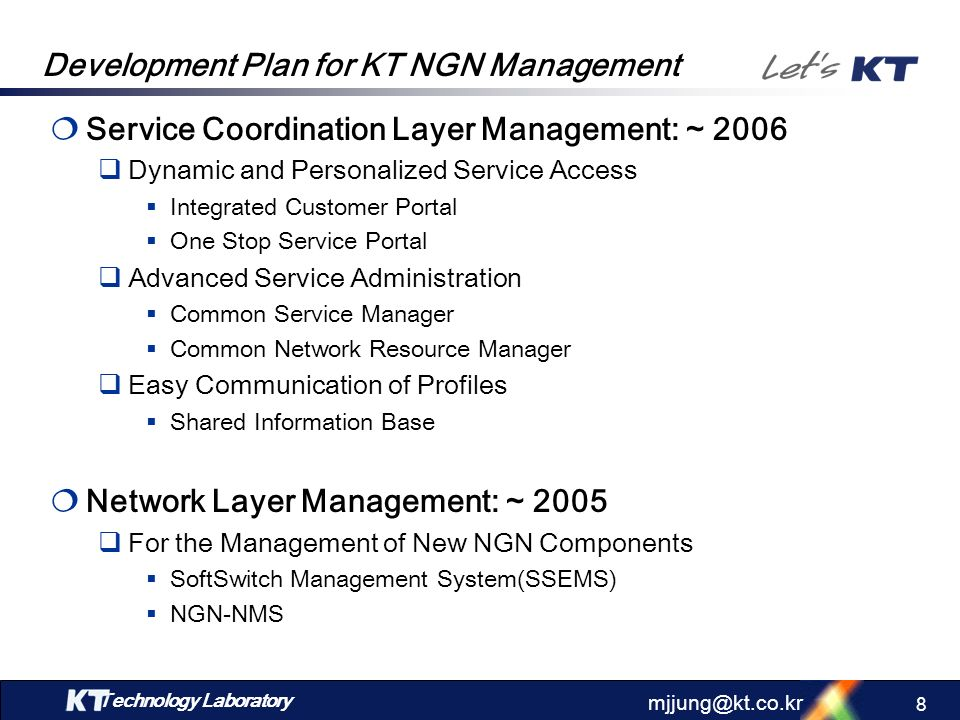 Development Plan for KT NGN Management