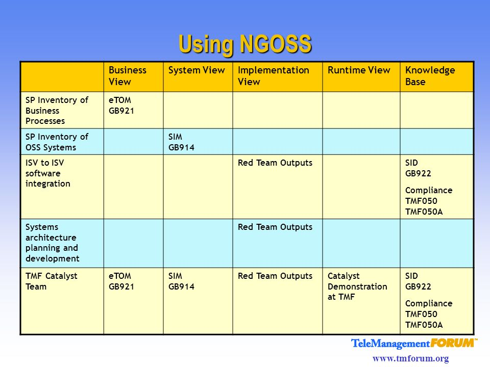 Using NGOSS Business View System View Implementation View Runtime View