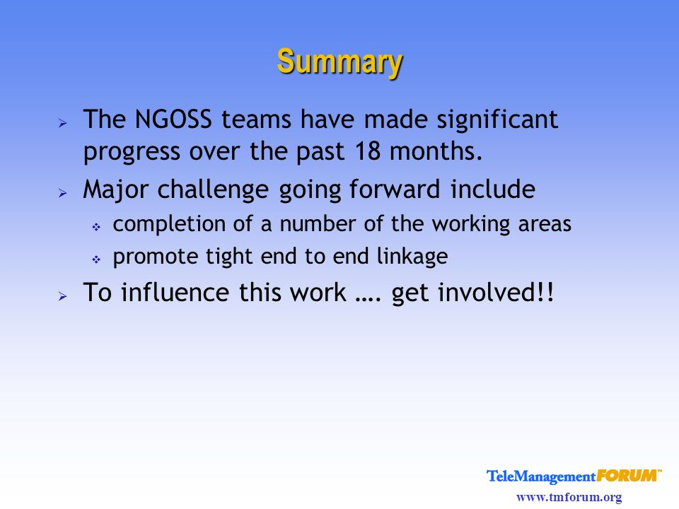 Summary The NGOSS teams have made significant progress over the past 18 months. Major challenge going forward include.