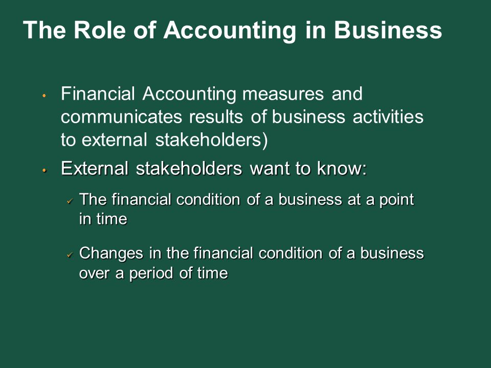 the role of accounting on business Management of business concerns expects from cost accounting a detailed cost information in respect of its operations to equip their executives with relevant information required for planning, scheduling, controlling and decision making to be more specific, management expects from cost accounting .