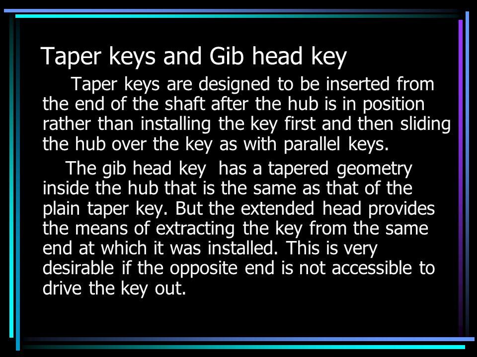Taper keys and Gib head key