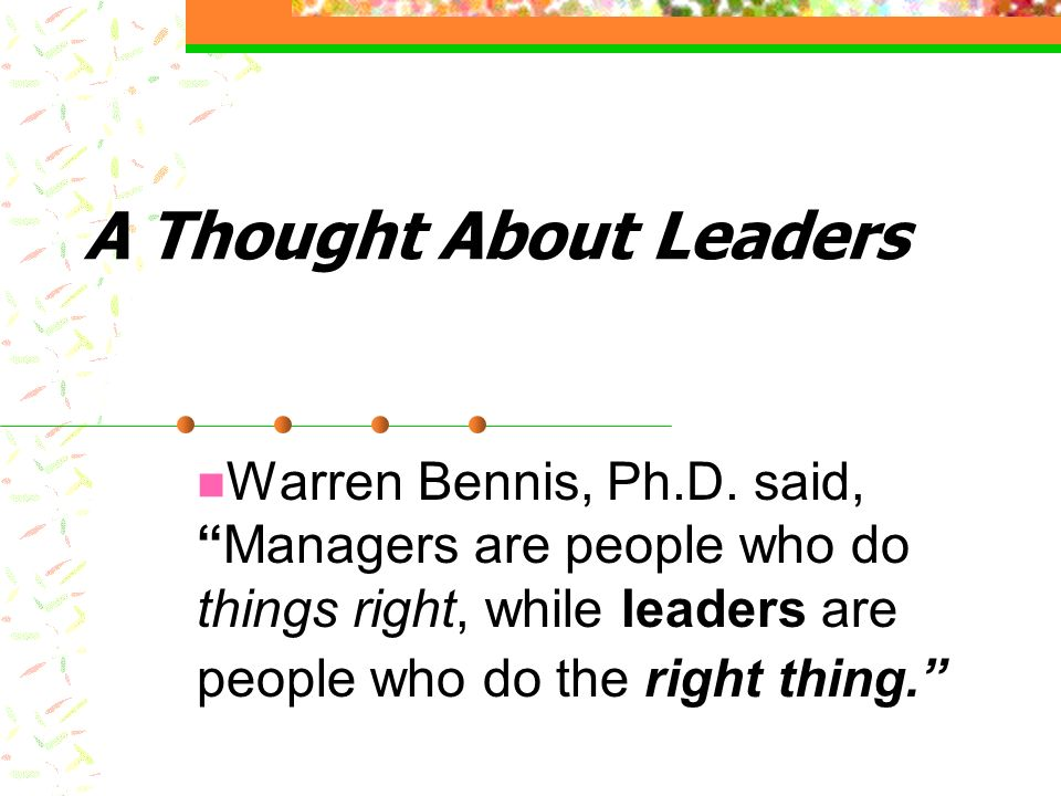 A Thought About Leaders