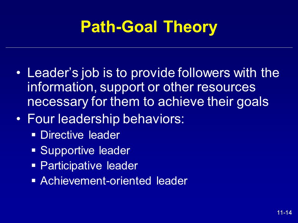 Path-Goal Theory Leader's job is to provide followers with the information, support or other resources necessary for them to achieve their goals.