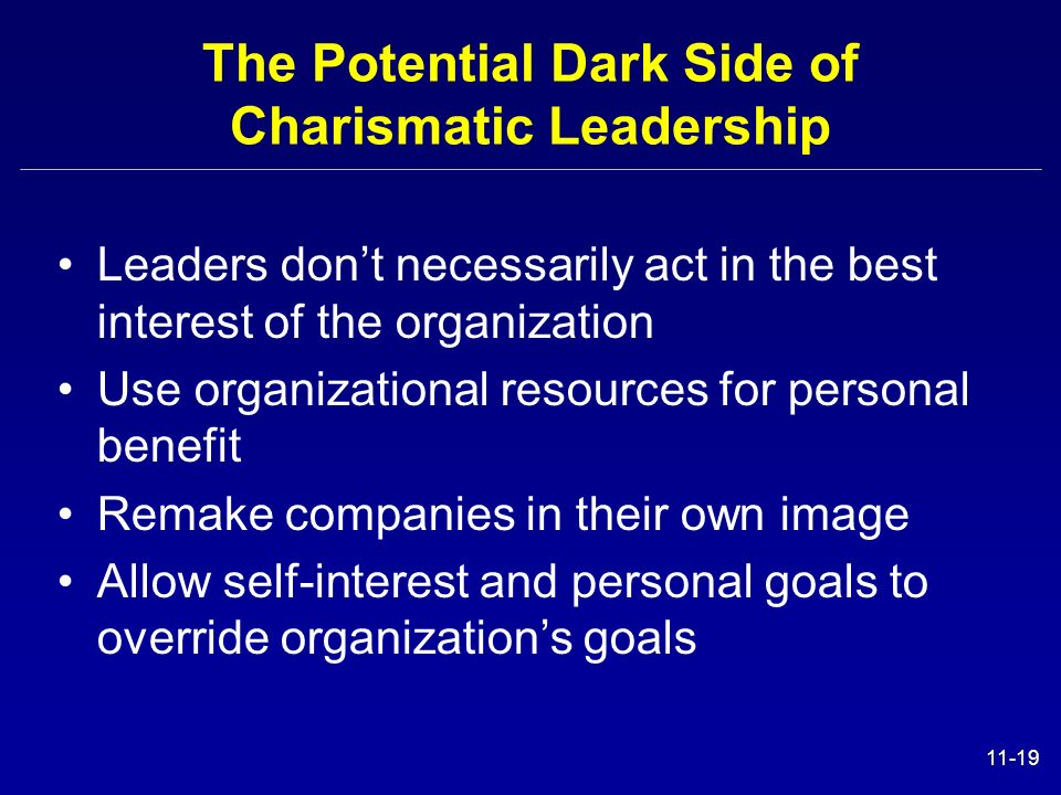 The Potential Dark Side of Charismatic Leadership