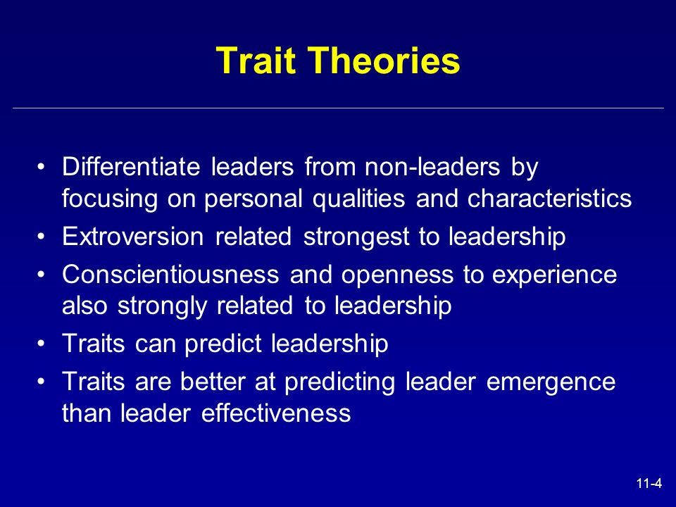 Trait Theories Differentiate leaders from non-leaders by focusing on personal qualities and characteristics.