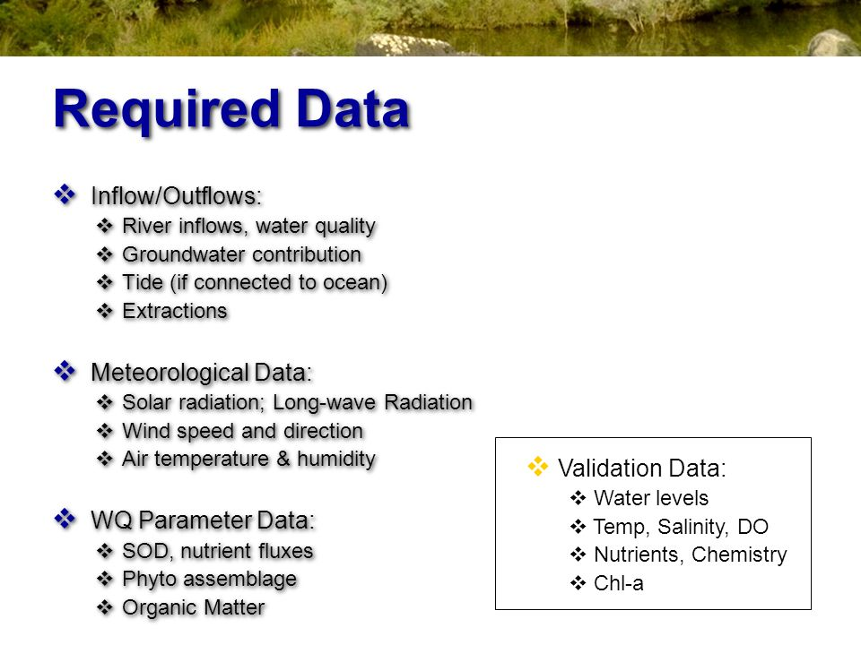 Required Data Inflow/Outflows: Meteorological Data: WQ Parameter Data:
