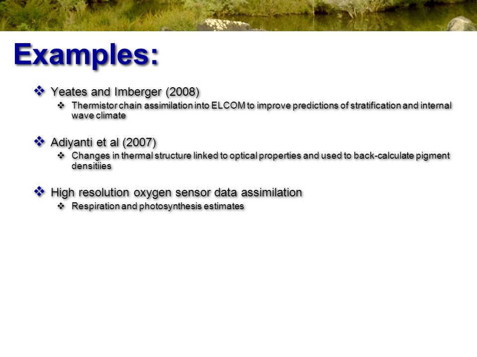 Examples: Yeates and Imberger (2008) Adiyanti et al (2007)