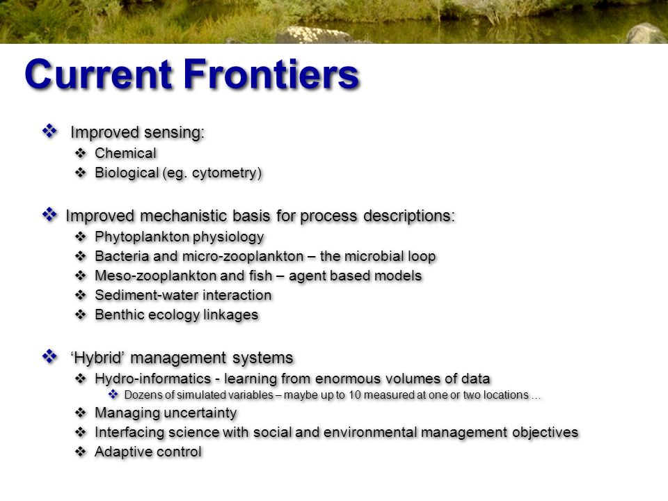 Current Frontiers Improved sensing: