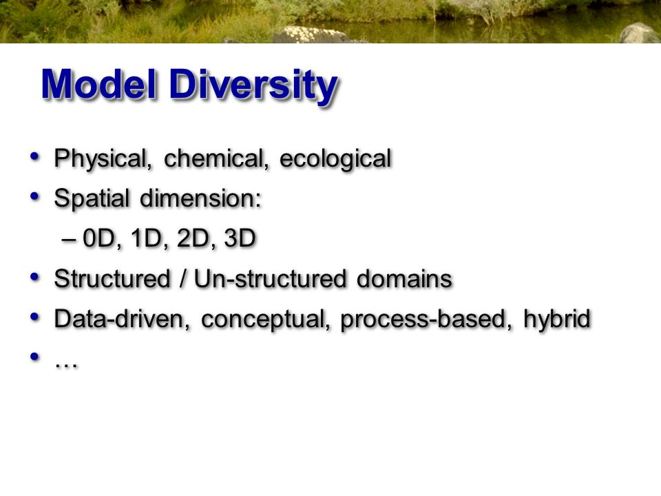 Model Diversity Physical, chemical, ecological Spatial dimension: