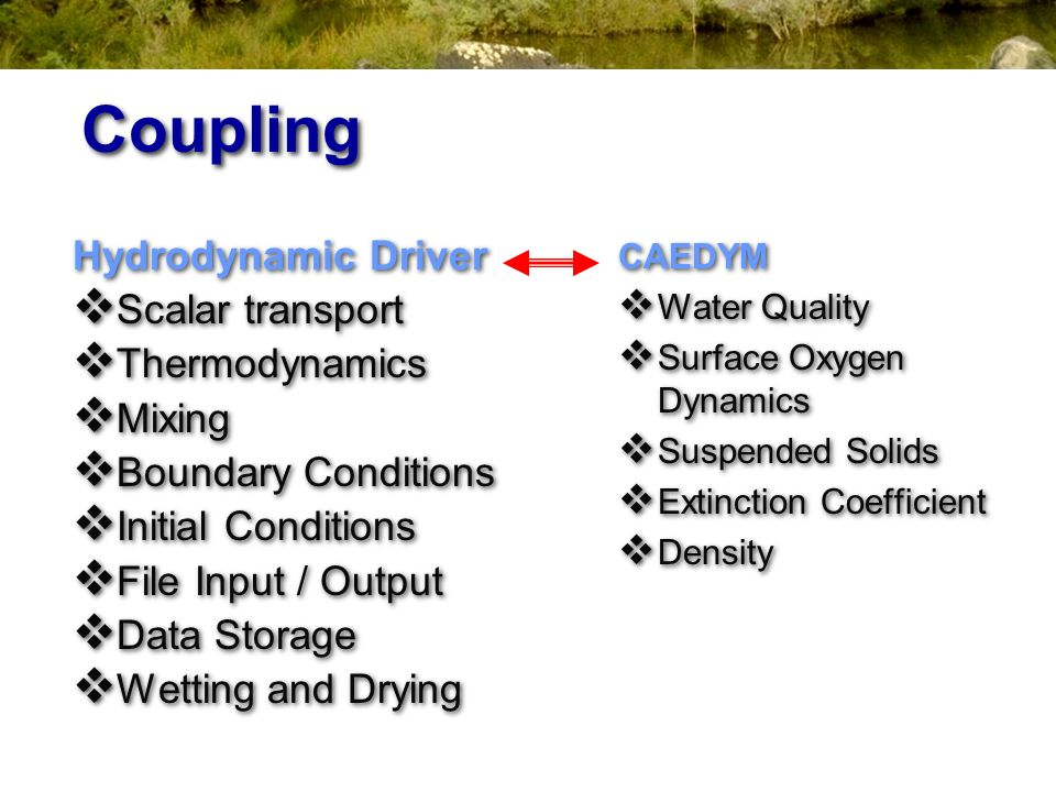 Coupling Hydrodynamic Driver Scalar transport Thermodynamics Mixing