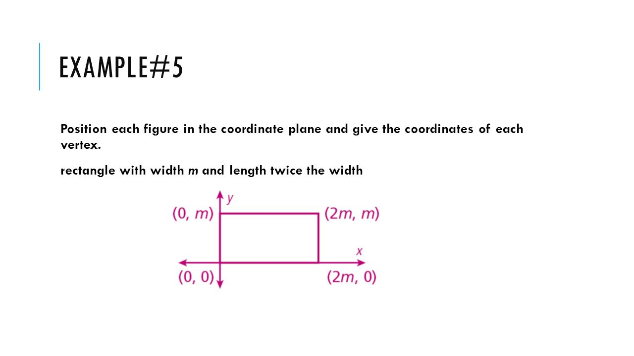 Example#5 Position each figure in the coordinate plane and give the coordinates of each vertex.
