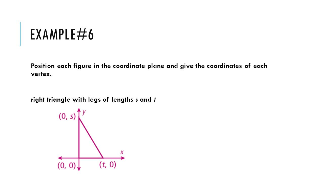 Example#6 Position each figure in the coordinate plane and give the coordinates of each vertex.